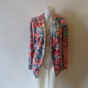 BCBGENERATION PINK MULTI-COLOR TROPICAL BLAZER M